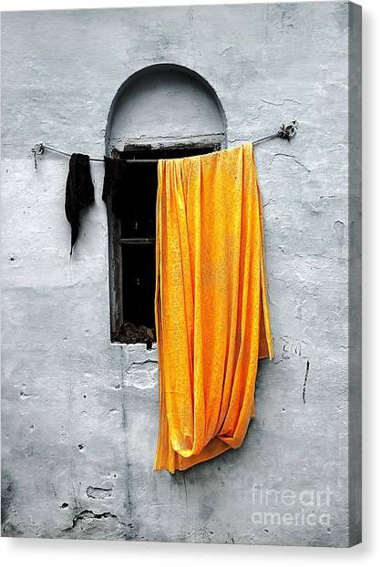 Orange Sari Canvas Print