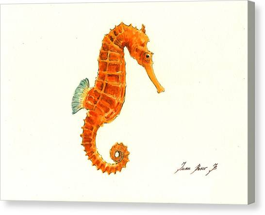Seahorses Canvas Print - Orange Seahorse by Juan Bosco