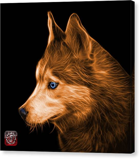 Canvas Print featuring the painting Orange Siberian Husky Art - 6048 - Bb by James Ahn