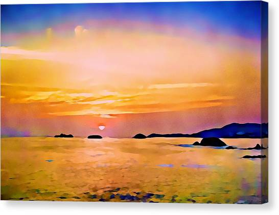 Orange Sky In Ixtapa, Mexico Canvas Print