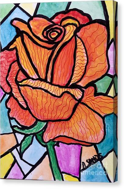 Orange Stained Glass Rose Canvas Print