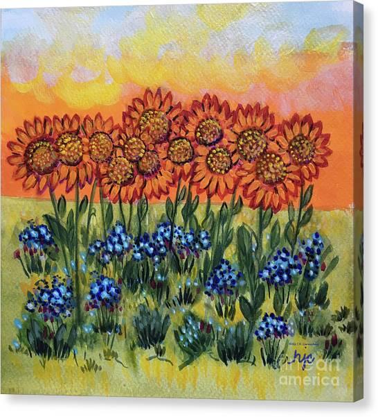 Orange Sunset Flowers Canvas Print