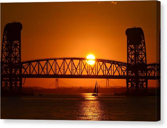 Orange Sunset Brooklyn Bridges Sailboat Canvas Print