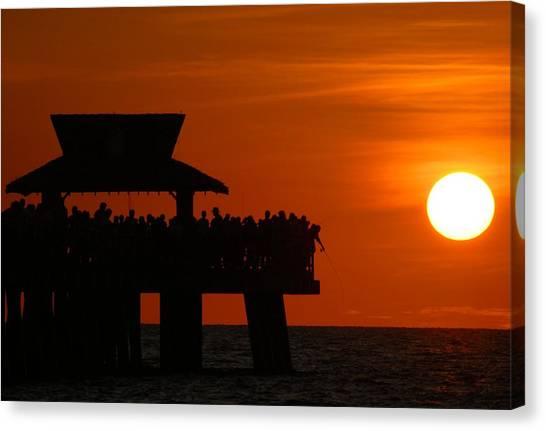 Orange Sunset In Naples Canvas Print