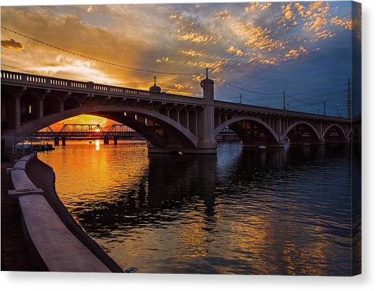 Orange Sunset Over Tempe Town Lake Canvas Print