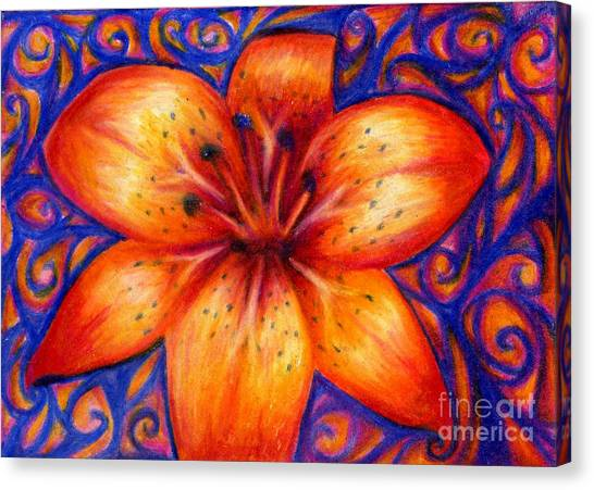 Orange Tiger Lily Drawing Canvas Print