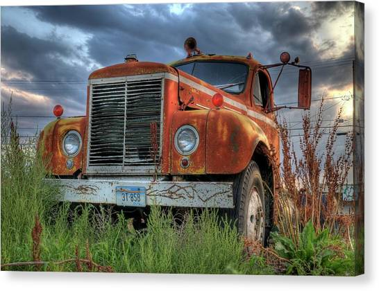 Orange Truck Canvas Print