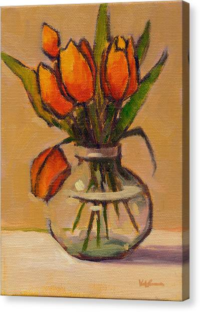 Canvas Print featuring the painting Orange Tulips by Konnie Kim