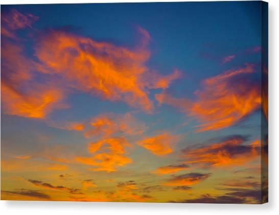 Sun Set Canvas Print - Orange Twllight Clouds by Garry Gay