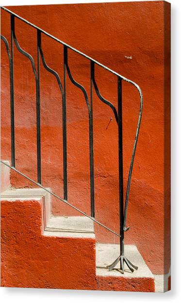 Orange Wall And Steps. Canvas Print
