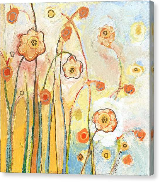 Social Canvas Print - Orange Whimsy by Jennifer Lommers