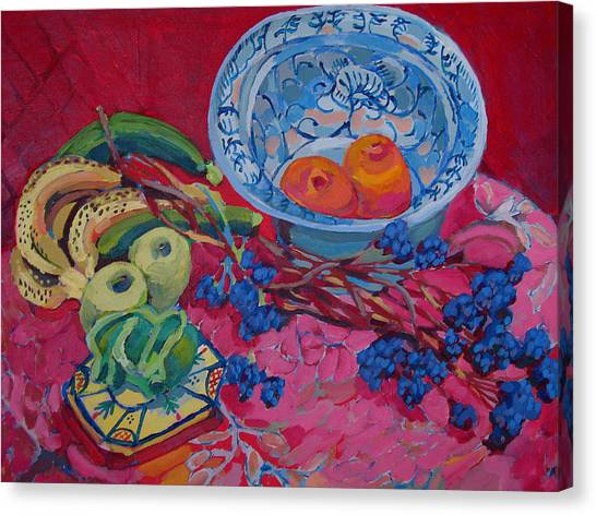 Oranges And Chinese Bowl Canvas Print by Doris  Lane Grey