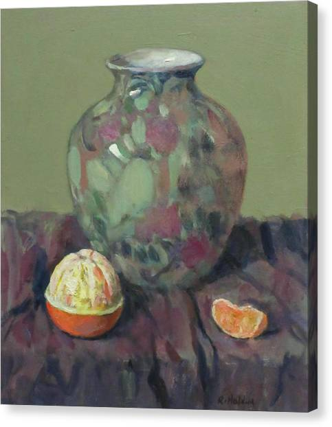 Oranges And Floral Porcelain Vase Canvas Print