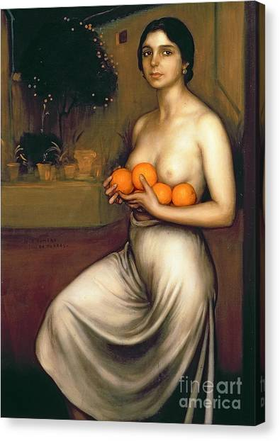Naked Woman Canvas Print - Oranges And Lemons by Julio Romero de Torres