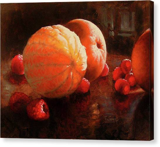 Raspberries Canvas Print - Oranges And Raspberries by Timothy Jones