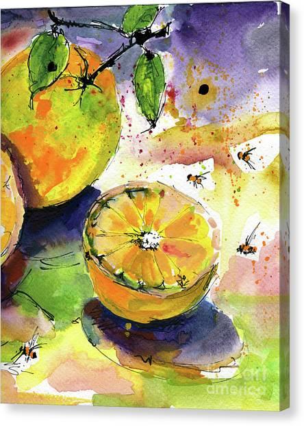 Oranges Fruit 2 Watercolor Paintings Canvas Print
