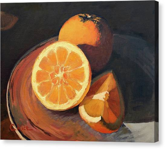 Oranges In Late Afternoon Sunlight Canvas Print