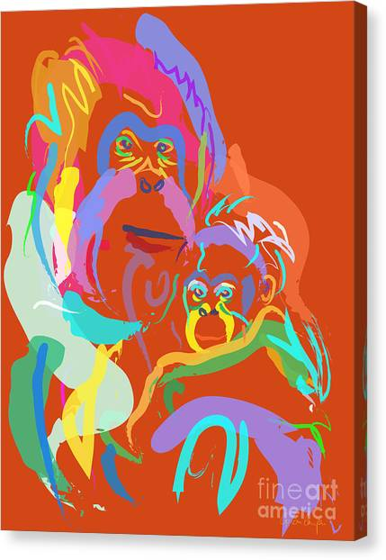 Orangutan Mom And Baby Canvas Print