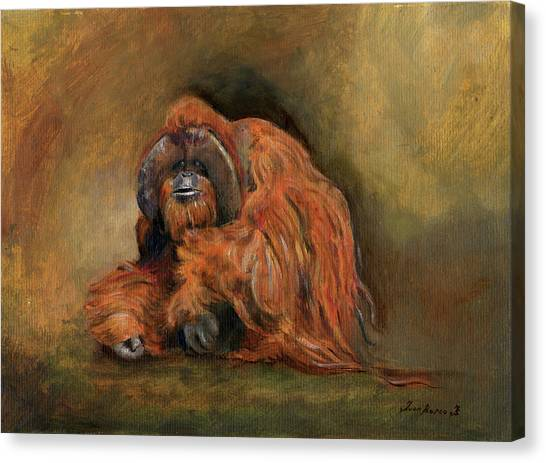 Orangutans Canvas Print - Orangutan Monkey by Juan Bosco