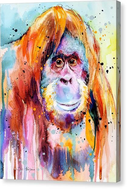 Orangutans Canvas Print - Orangutan  by Slavi Aladjova