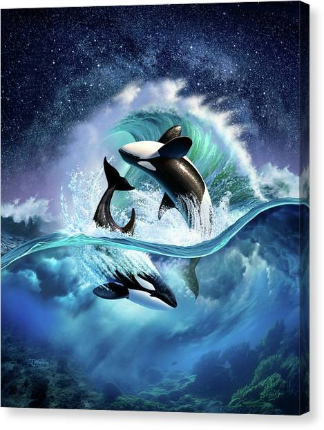 Orcas Canvas Print - Orca Wave by Jerry LoFaro