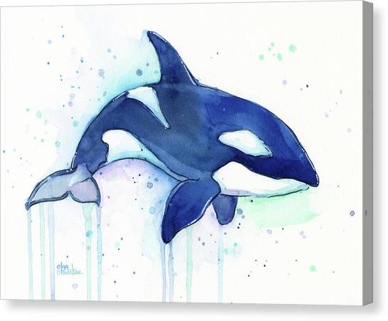 Blue Whales Canvas Print - Orca Whale Watercolor Killer Whale Facing Right by Olga Shvartsur