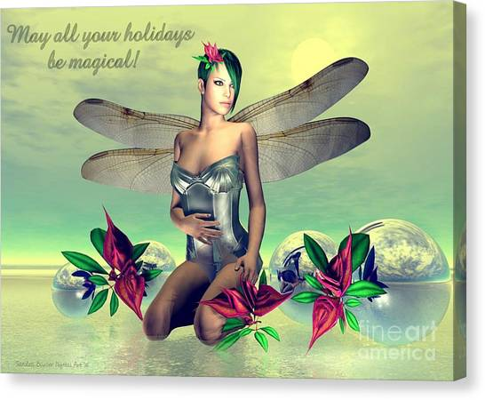 Canvas Print featuring the digital art Orchid Faerie Holiday Card by Sandra Bauser Digital Art