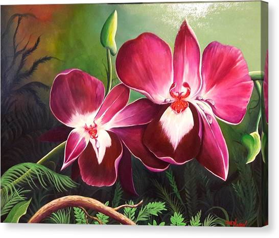 Orchids In The Night Canvas Print