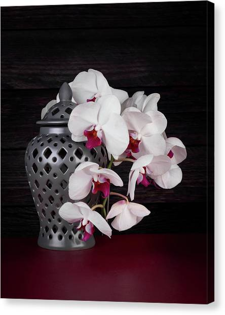 Orchids Canvas Print - Orchids With Gray Ginger Jar by Tom Mc Nemar