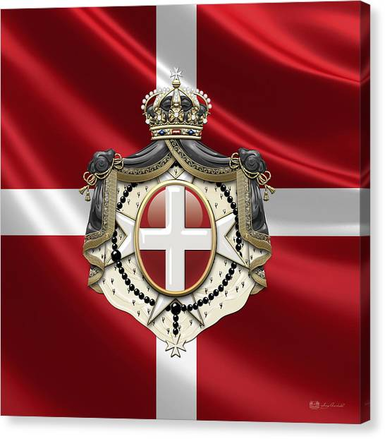 Fantasy Canvas Print - Order Of Malta Coat Of Arms Over Flag by Serge Averbukh