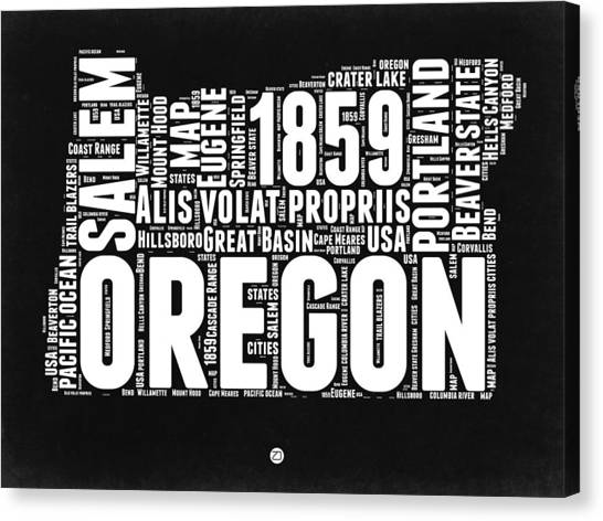 Beavers Canvas Print - Oregon Black And White Map by Naxart Studio