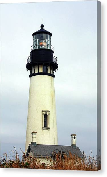Old Houses Canvas Print - Oregon Coast Lighthouses - Yaquina Head Lighthouse by Christine Till