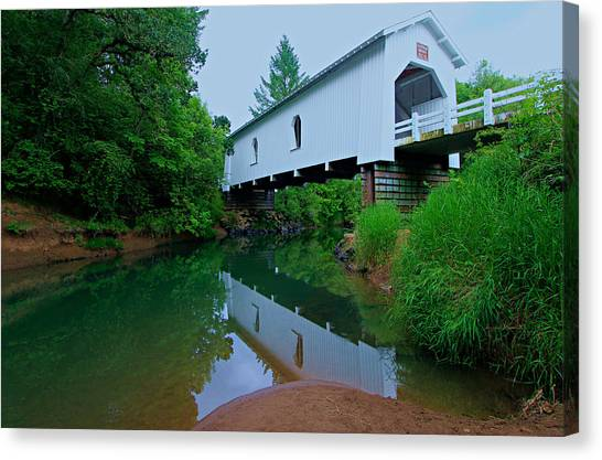 Canvas Print featuring the photograph Oregon Covered Bridge by Sean Sarsfield