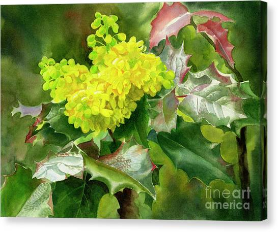 Oregon State Canvas Print - Oregon Grape Blossoms With Leaves by Sharon Freeman