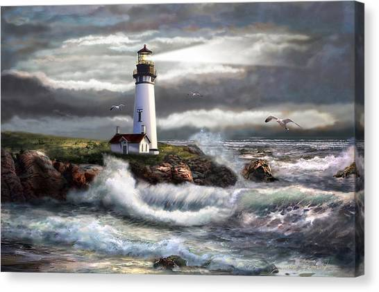 Scene Canvas Print - Oregon Lighthouse Beam Of Hope by Regina Femrite