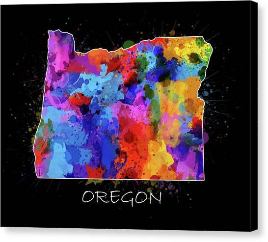 Portland Trail Blazers Canvas Print - Oregon Map Color Splatter 2 by Bekim Art