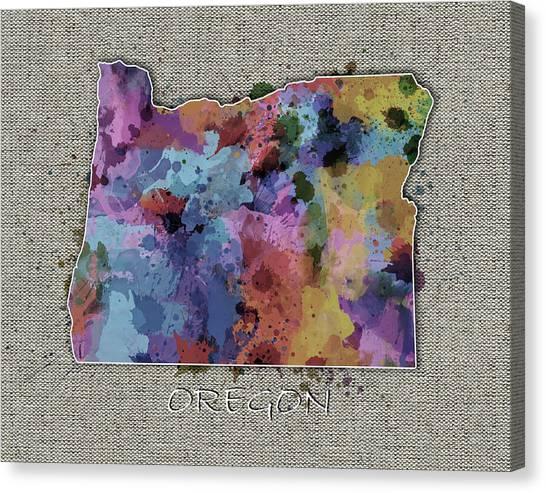 Portland Trail Blazers Canvas Print - Oregon Map Color Splatter 5 by Bekim Art