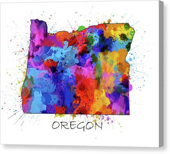 Portland Trail Blazers Canvas Print - Oregon Map Color Splatter by Bekim Art