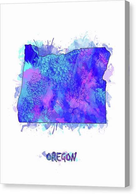 Portland Trail Blazers Canvas Print - Oregon Map Watercolor 2 by Bekim Art