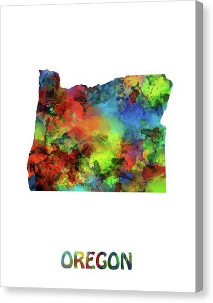 Portland Trail Blazers Canvas Print - Oregon Map Watercolor by Bekim Art