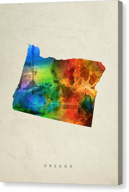 Oregon State Canvas Print - Oregon State Map 03 by Aged Pixel