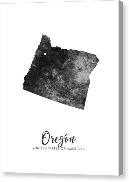 Oregon State Canvas Print - Oregon State Map Art - Grunge Silhouette by Studio Grafiikka