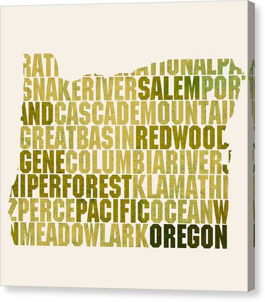 Oregon State Canvas Print - Oregon State Outline Word Map by Design Turnpike