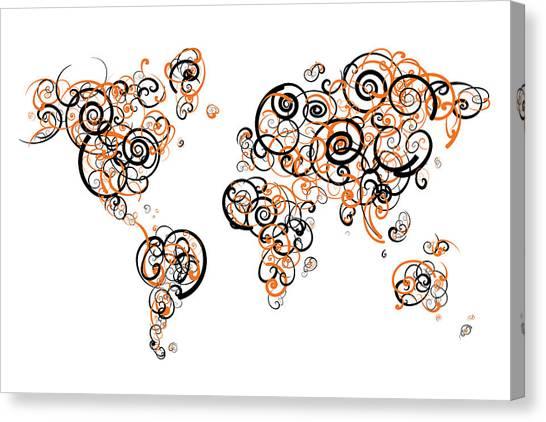Oregon State University Osu Canvas Print - Oregon State University Colors Swirl Map Of The World Atlas by Jurq Studio