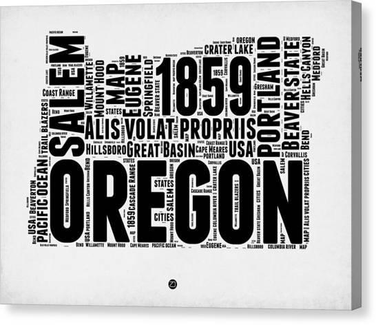 Oregon Canvas Print - Oregon Word Cloud 1 by Naxart Studio