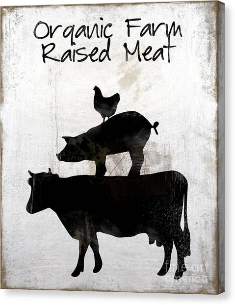 Farm Raised Pigs Canvas Print - Organic Farm Raised Meat, Weathered Working Farm Sign Kitchen Art by Tina Lavoie
