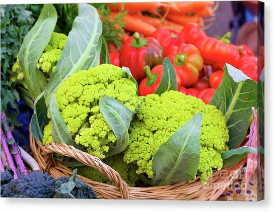 Organic Green Cauliflower At The Farmer's Market Canvas Print