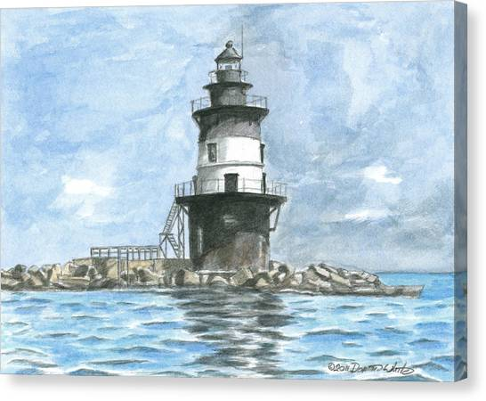 Canvas Print featuring the painting Orient Point Lighthouse by Dominic White