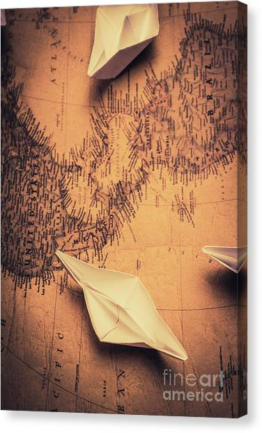 Desks Canvas Print - Origami Boats On World Map by Jorgo Photography - Wall Art Gallery
