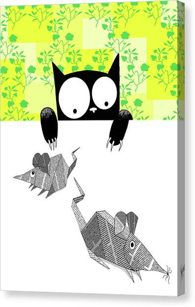 Child Drawing Canvas Print - Origami Mice  by Andrew Hitchen